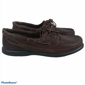 Dunhams by New Balance Brown Leather Boat Shoes